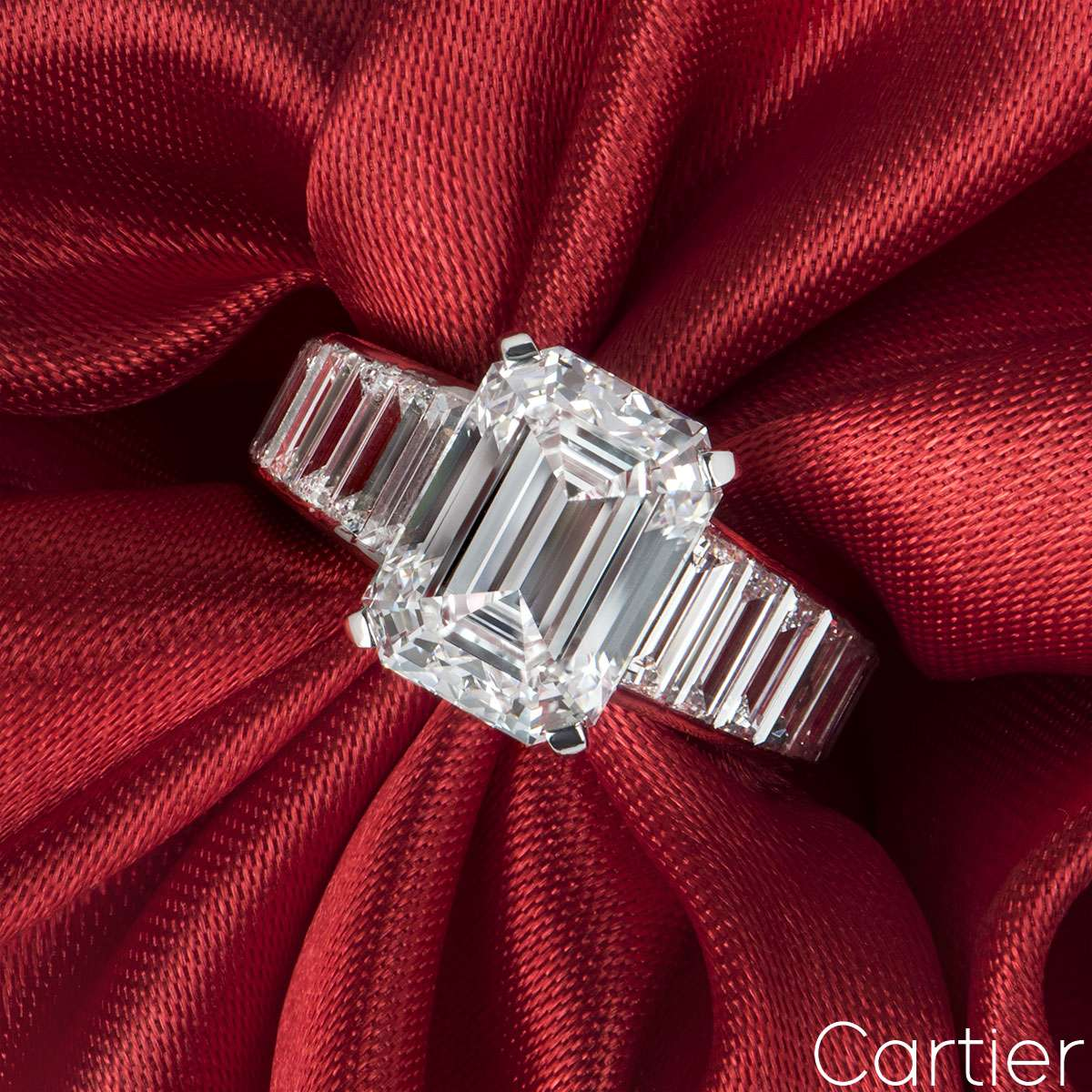 Cartier Platinum Emerald Cut Diamond Ring 4.12ct E/VVS2
